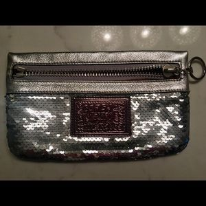 Sequined Coach wristlet